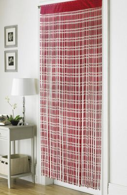Country Club Retro Chic String Door Curtain 90 X 200cm Jacquard Red