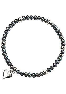 Black Pearl Silver Heart Stretch Bracelet