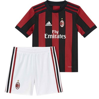 adidas AC Milan 2017/18 Kids Junior Mini Home Kit Red/Black - 4-5 Years