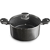 VonShef Non Stick Aluminium Stock Pot With Marble Effect - 24cm/4L Includes Glass Lid with Steam Vent