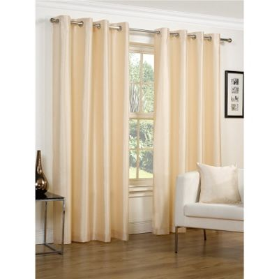 Hamilton McBride Faux Silk Lined Eyelet Cream Curtains - 66x90 Inches (168x229cm)