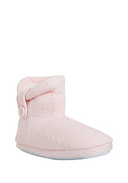 F&F Cable Embossed Jersey Bootie Slippers - Pink