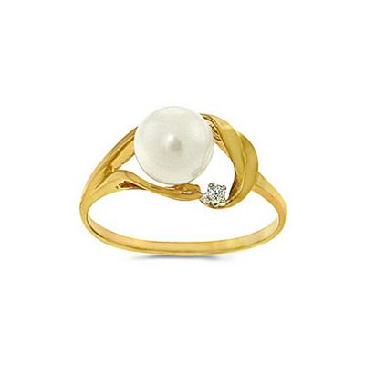 QP Jewellers Diamond & Pearl Ring in 14K Gold - Size I