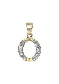 Jewelco London 9 Carat Yellow Gold Elegant 1.5pts Diamond-Set Initial Pendant - Initial O