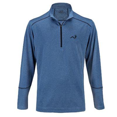 Woodworm Golf Heather Stitch Striped Mens Pullover Sweater Windshirt Blue Medium