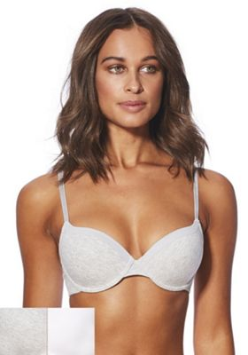 F&F 2 Pack of T-Shirt Bras Grey/White 34 D cup
