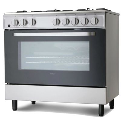 Servis SD900X 90cm Dual Fuel Range Cooker in Stainless Steel | Large Single Electric Oven, Gas Hob