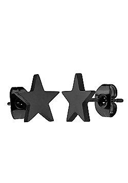 Urban Male Black Stainless Steel 10mm Star Stud Earrings for Men