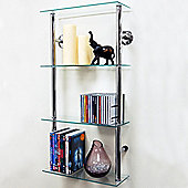 Maxwell - Wall Mounted Glass Cd Dvd Storage Shelves - Clear / Silver