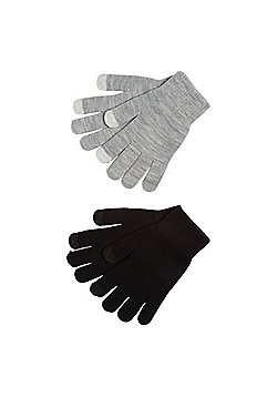 F&F 2 Pack of Touch Screen Gloves - Black & Grey
