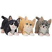 Set of 3 Realistic Life-size Playful Kitten Cat Garden Ornaments - Black, Grey & Ginger