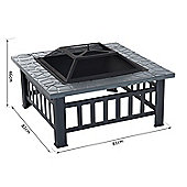 Outsunny Metal Fire Pit Outdoor Backyard Square Stove Wood Burning Heater Brazier
