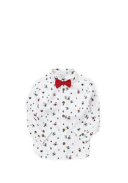 F&F Printed Christmas Shirt with Bow Tie - White