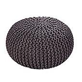 EHC Braided Hand Knitted Round Foot Stool Pouffe, Smoke