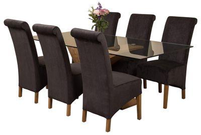 Valencia Large Oak 200cm Modern Glass Dining Set Table + 6 Black Fabric Chairs