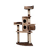 PawHut 150cm Cat Tree Pet Scratching Post Climbing Frame Tower Playhouse Activity Center Brown-Coffee