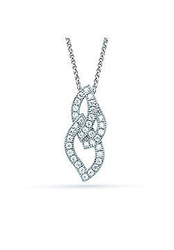 The REAL Effect Rhodium Coated Sterling Silver Cubic Zirconia criss-cross shape Pendant Pendant