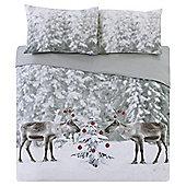 Tesco Reindeer Duvet Set  Size Set - Grey