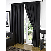"Dreamscene Pair Thermal Blackout Pencil Pleat Curtains, Black - 46"" x 54"" (116x137cm)"