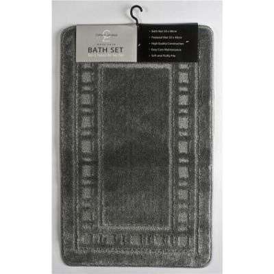 Catherine Landsfield Bathroom Armoni 2pc bathset, Bath Mat 50x80 Pedestal 50x40, grey