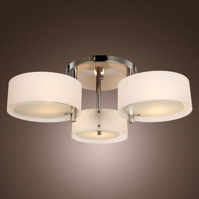 Homcom Acrylic Lamp Indoor 3 Light Pendant Chandelier Flush Mount w/ Chrome Finish
