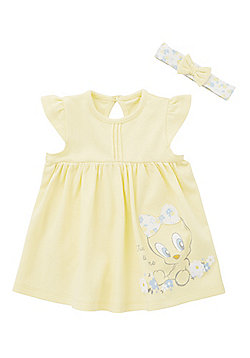 Looney Tunes Tweetie Pie Bodysuit Dress with Headband - Yellow