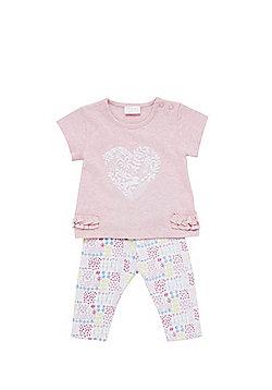 F&F Heart Print T-Shirt and Ditsy Print Leggings Set - Pink & Multi