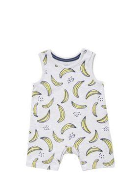 F&F Banana Print Sleeveless Romper Yellow/Grey 3-6 months