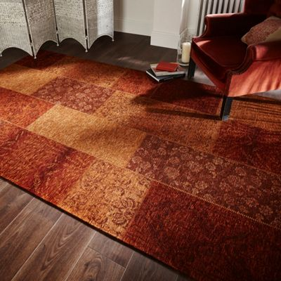 Manhattan patchwork chenille terracotta rug - 120x170 cm