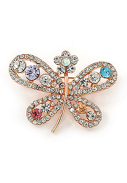 Multicoloured Crystal Butterfly Brooch In Rose Gold Tone - 40mm W