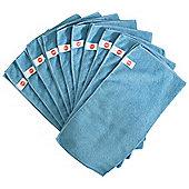 Harbour Housewares Microfibre Cloths - Pack of 10 - Large 40 x 40cm - Blue