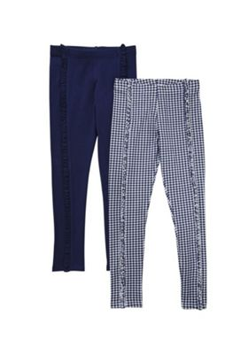 F&F 2 Pack of Plain and Gingham Frill Leggings Navy/Blue 5-6 years
