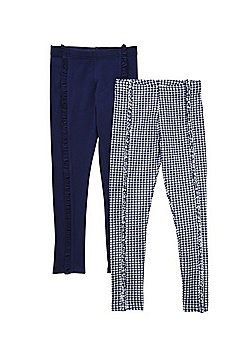 F&F 2 Pack of Plain and Gingham Frill Leggings - Navy/Blue