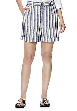 F&F Striped Linen Blend Shorts - Blue & White