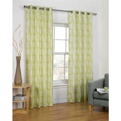 Hamilton McBride Vermont Eyelet Lined Green Curtains - 46x54 Inches (117x137cm)
