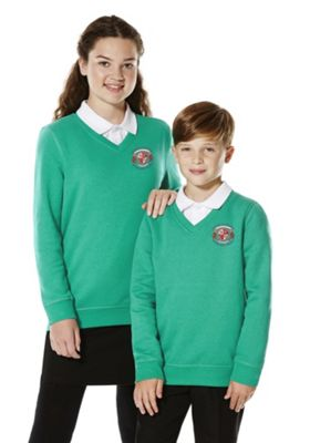 Unisex Embroidered V-Neck School Sweatshirt with As New Technology 14-15 years Jade green