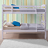 Happy Beds Chatsworth 3Ft Single White Wooden Bunk Bed & 2 Memory Foam Mattresses