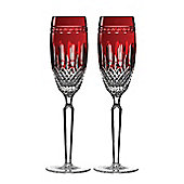 Waterford Crystal Clarendon Ruby Champagne Flute (Pair)