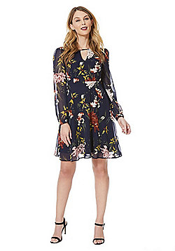 Only Floral Print Chiffon Dress - Black