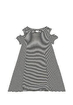 F&F Striped Cold Shoulder Dress - Black & White