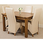 Cotswold Rustic Solid Oak Extending 132 - 198 cm Dining Table with 4 Ivory Lola Leather Chairs