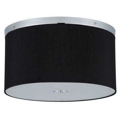 Black Silk Shade & Diffuser Flush Ceiling Fitting