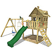 Wickey Funny Farm wooden treehouse with green slide