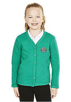 Girls Embroidered Cotton Blend School Sweatshirt Cardigan with As New Technology - Jade green