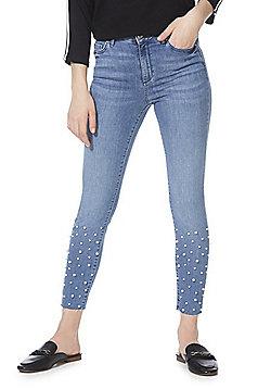 F&F Faux Pearl Raw Hem Mid Rise Skinny Jeans - Light Wash