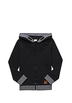 F&F Marl Zip-Through Hoodie - Black