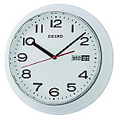 Seiko QXF102H Day & Date Calendar Display With Arabic Numerals Wall Clock-White