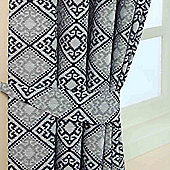 Homescapes Blue Jacquard Tie Back Pair Abstract Aztec Design