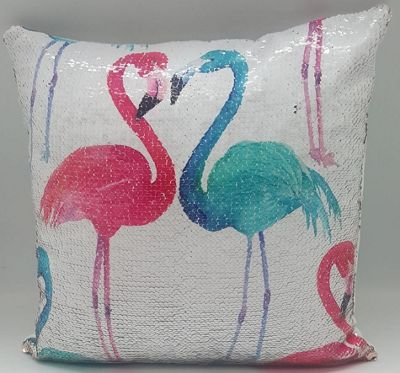 Flamingos Sequin Cushion