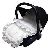 Broderie Anglaise Car Seat Footmuff To Fit Maxi Cosi Cabrio / Pebble White